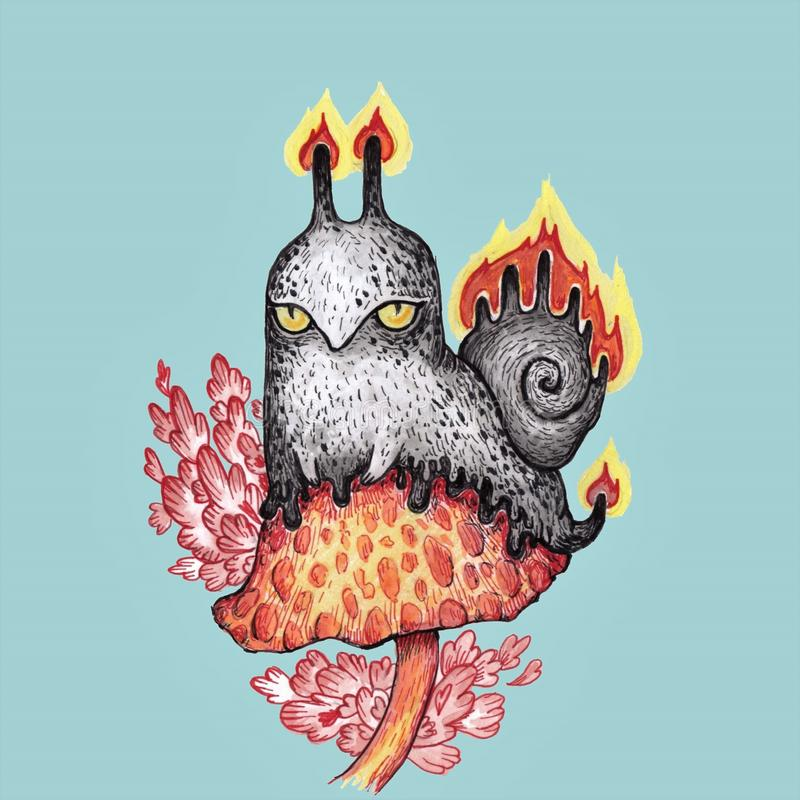 angry evil fire snail royalty free stock image