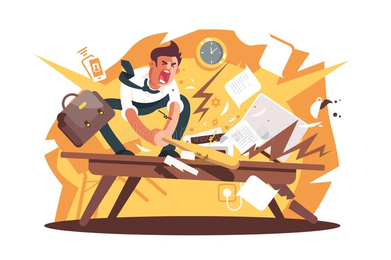 Angry and exasperated worker crushed workplace stock illustration