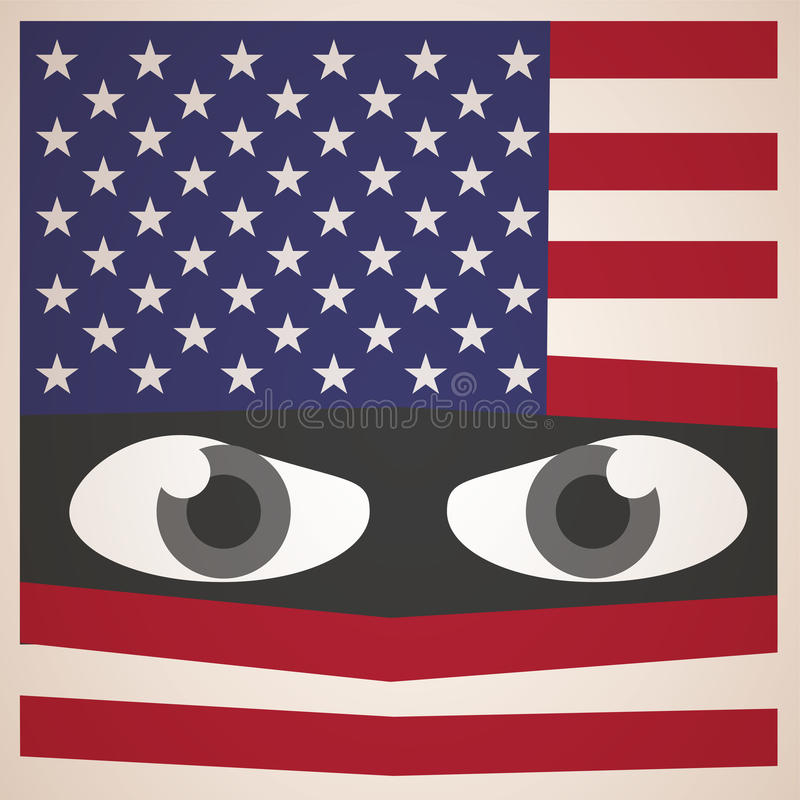 Angry Eyes with American Flag, Military Concept royalty free illustration
