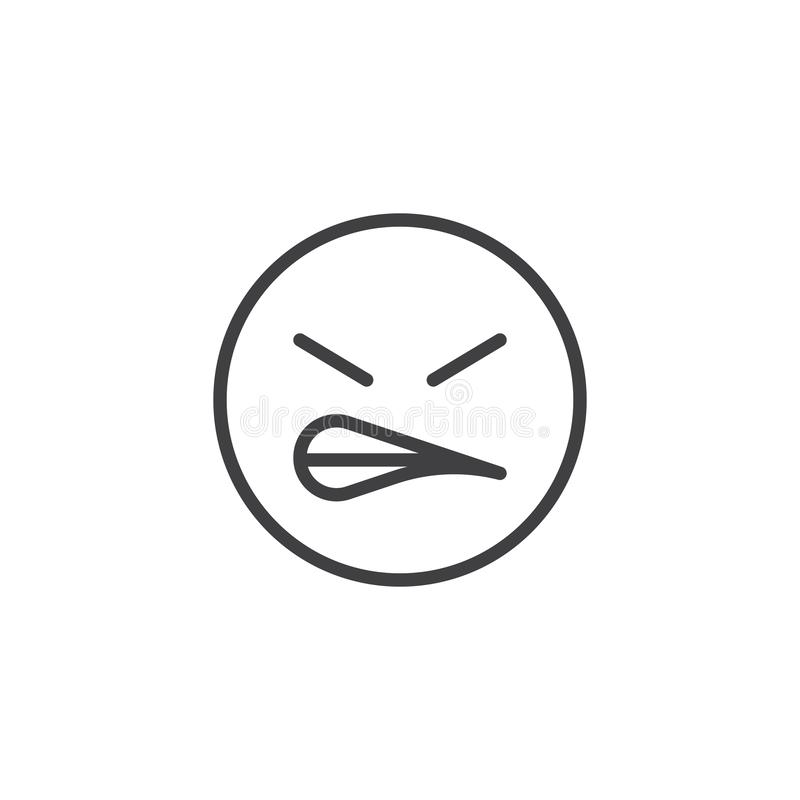 Angry face emoji line icon. Linear style sign for mobile concept and web design. Grimacing Face emoticon outline vector icon. Symbol, logo illustration. Vector stock illustration