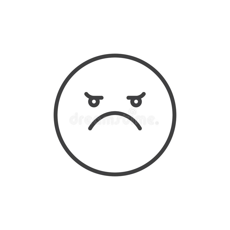 Angry Face Emoticon Line Icon Stock Vector Illustration Of Angry