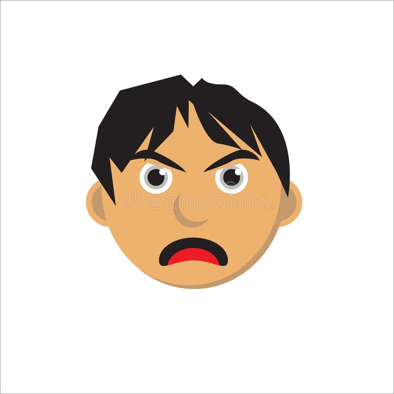 Angry faces characters isolated vector illustration royalty free illustration