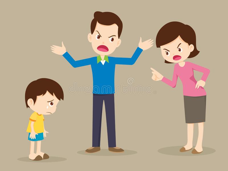 Angry family quarreling with sad child stock illustration