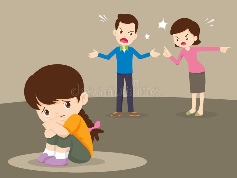 Angry family quarreling with sad girl stock illustration