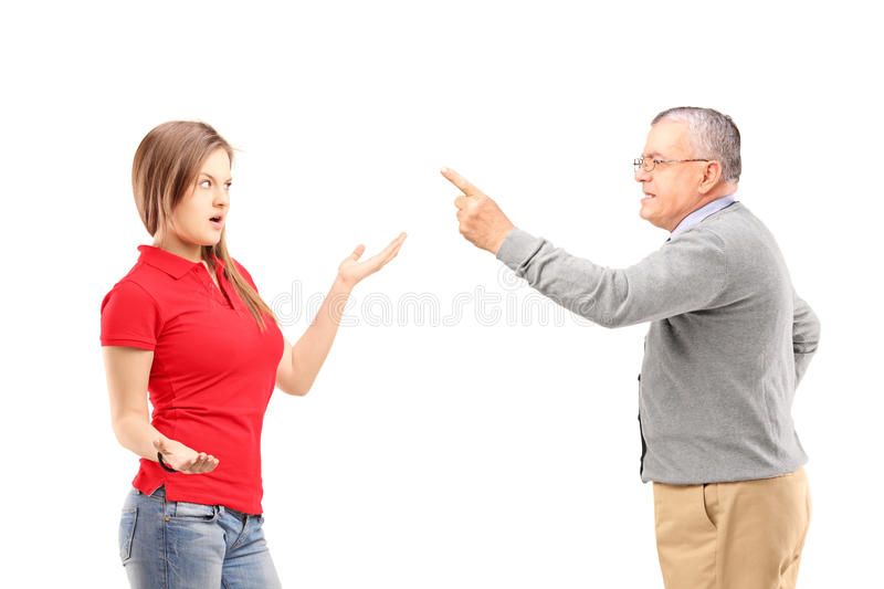 Download Angry Father Reprimanding His Teenage Daughter Stock Photography - Image: 30045062