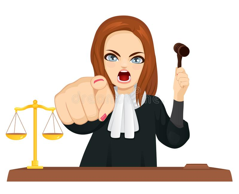 Angry Female Judge Pointing Finger royalty free illustration