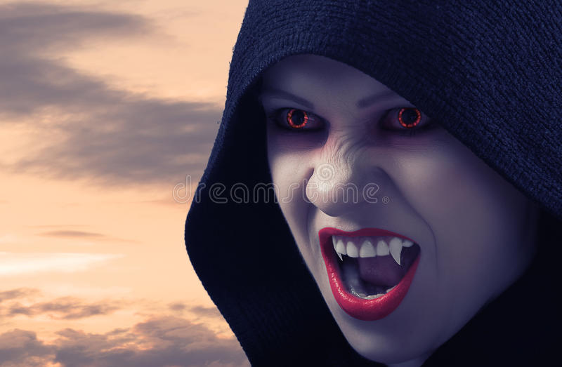 Download Angry Female Vampire At Sunset Stock Photo - Image of mouth, fantasy: 26740606