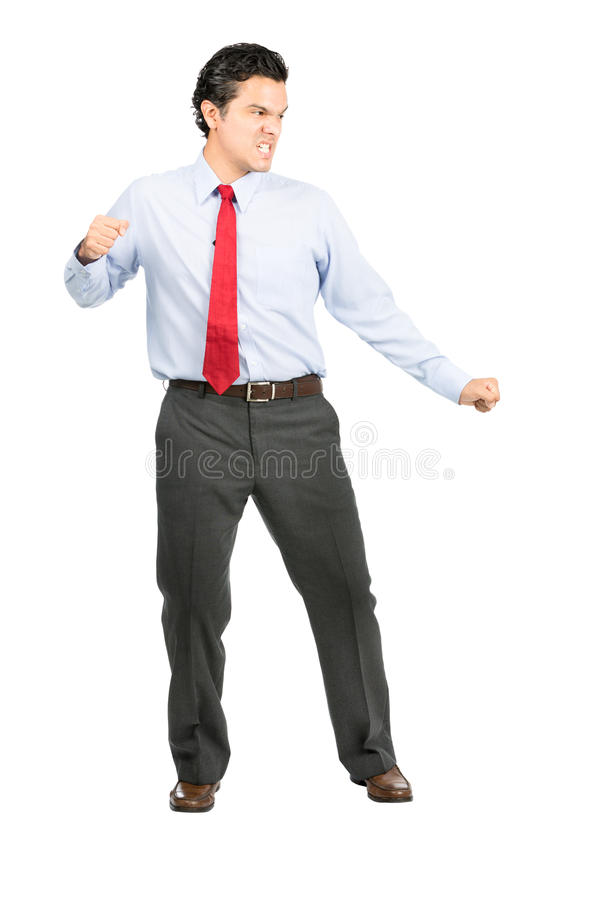 Angry Fighting Stance Hispanic Office Worker Full stock photo