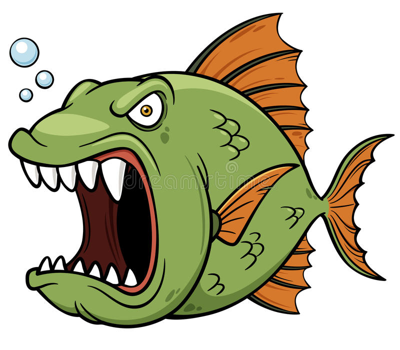 Angry fish cartoon vector illustration