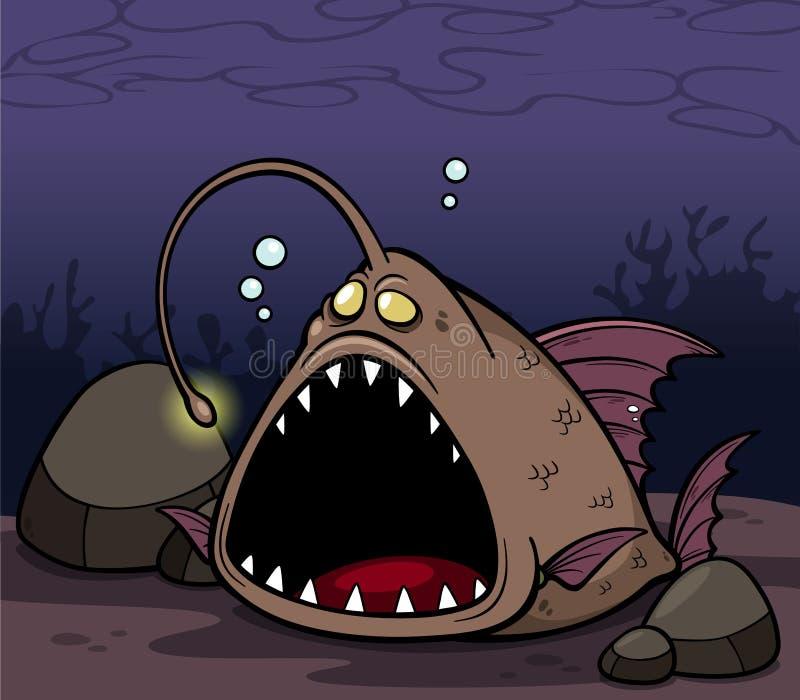 Angry fish cartoon royalty free illustration