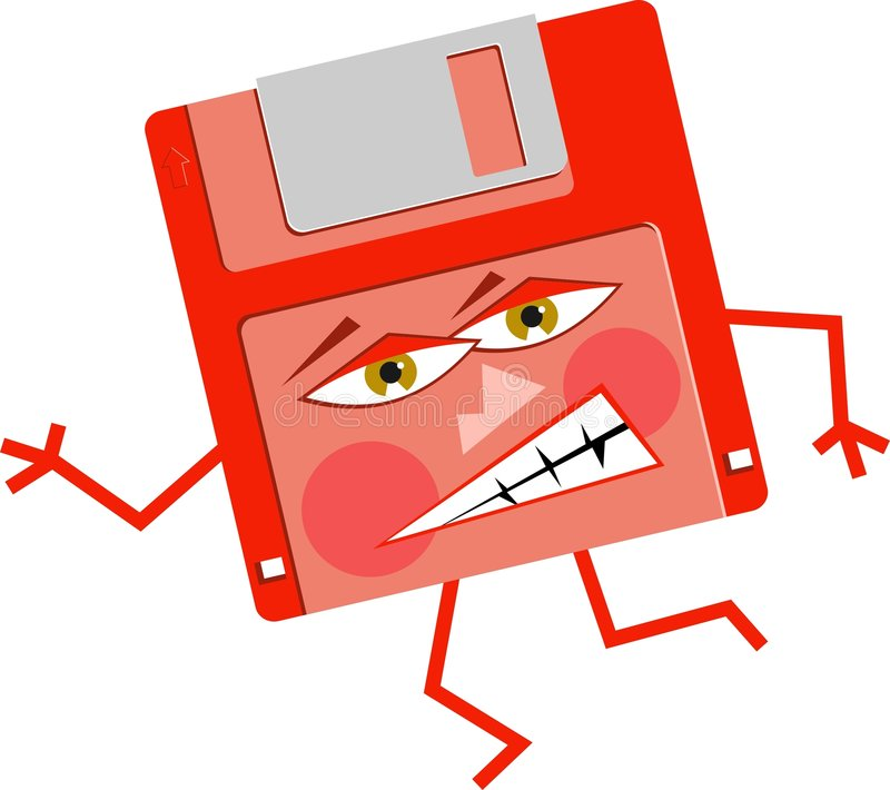 Angry Floppy stock illustration