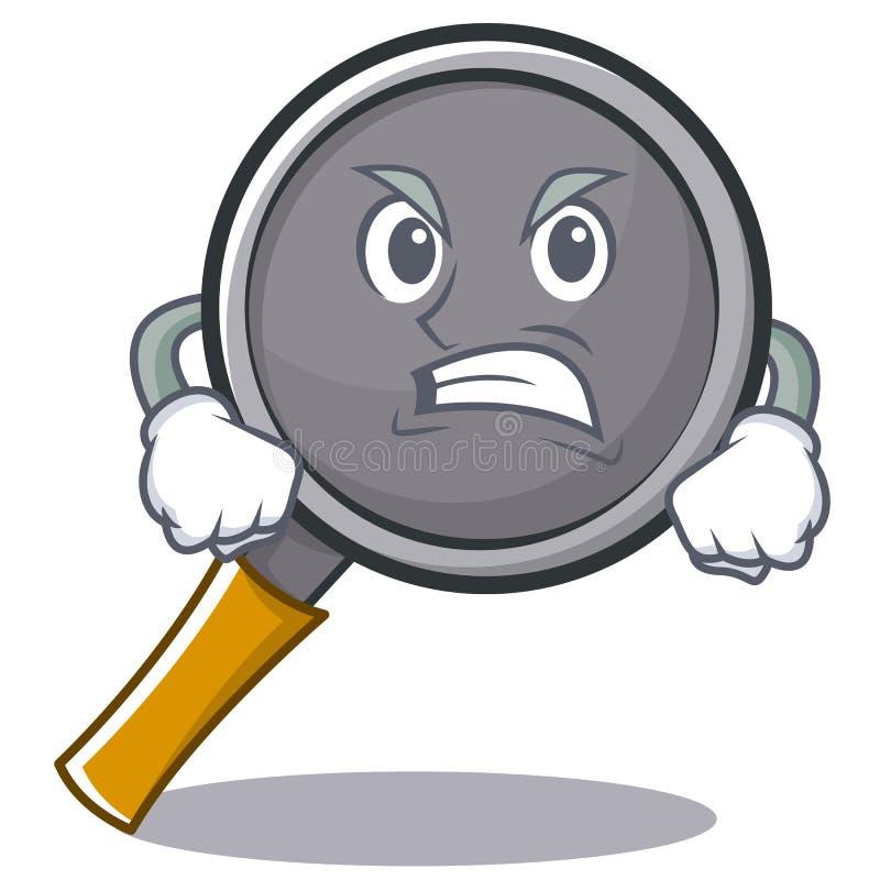 Angry frying pan cartoon character. Vector illustration stock illustration