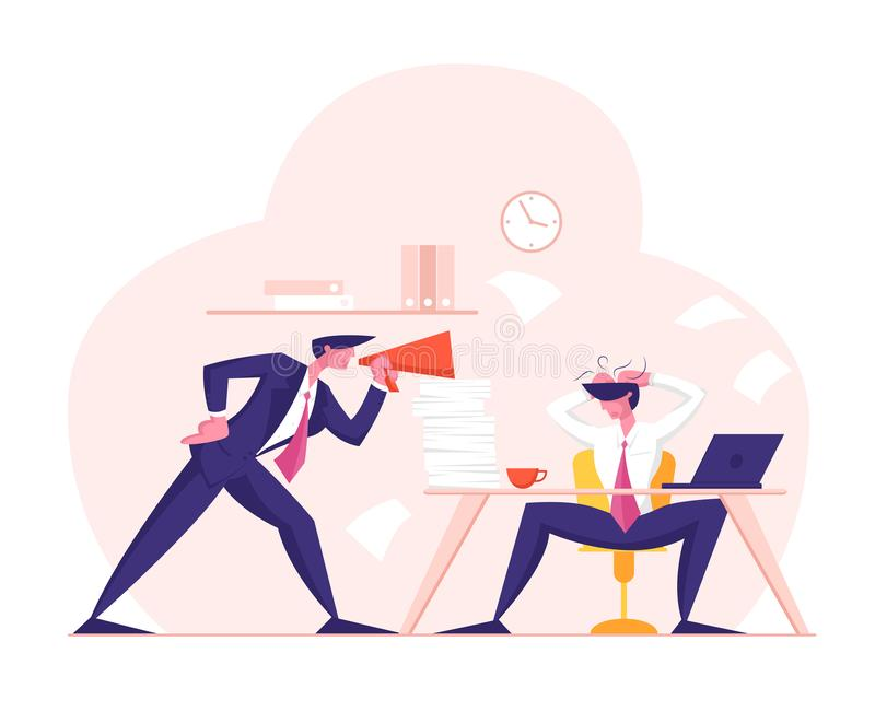 Angry Furious Boss Character Yelling to Megaphone at Employee Office Worker Sitting at Desk with Computer and Documents. Businessman in Stress Deadline stock illustration