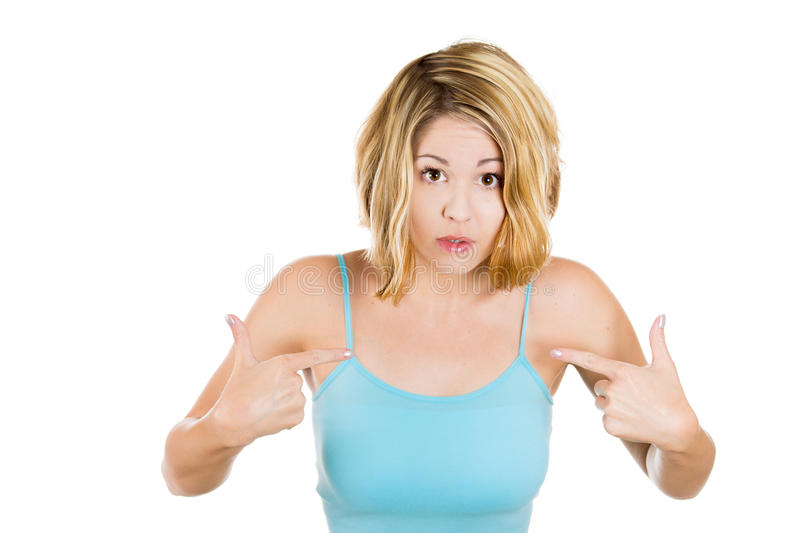 Angry getting mad and asking you talking to me, or you mean me? stock images