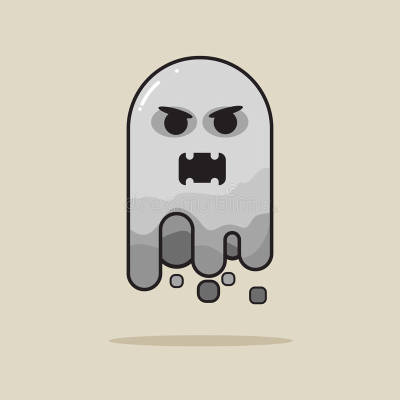 Angry ghost icon for halloween stock illustration