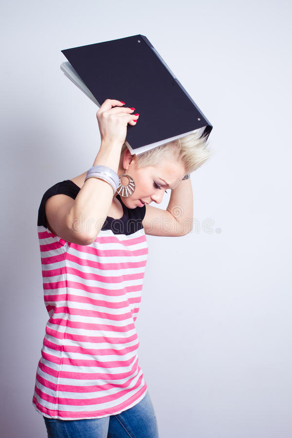 Download Angry Girl With Black Folder Stock Image - Image: 24531731