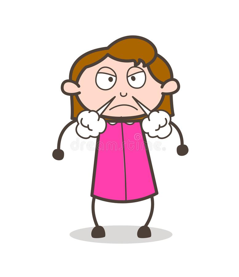 Angry Girl Face with Steam from Nose Vector vector illustration