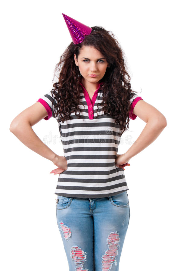Angry girl with funny hat royalty free stock image