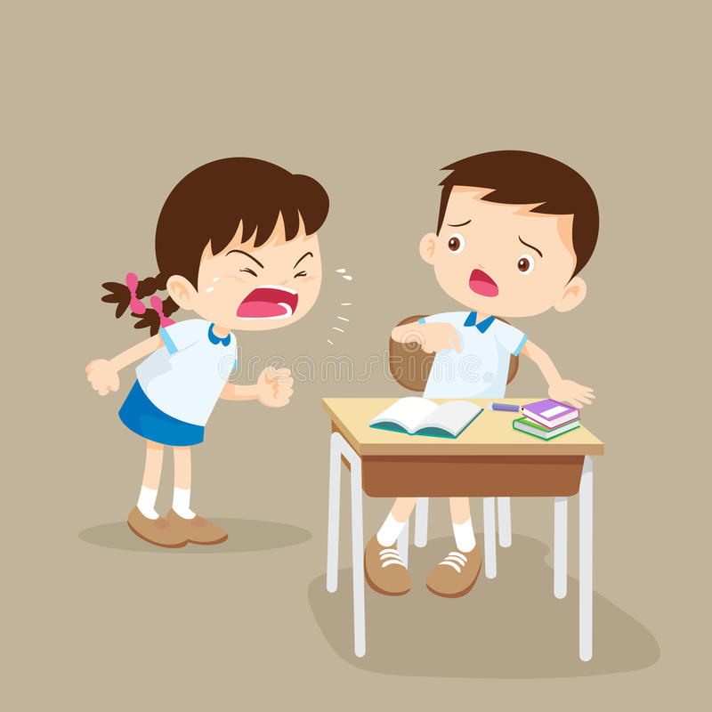 Angry girl shouting at friend stock illustration