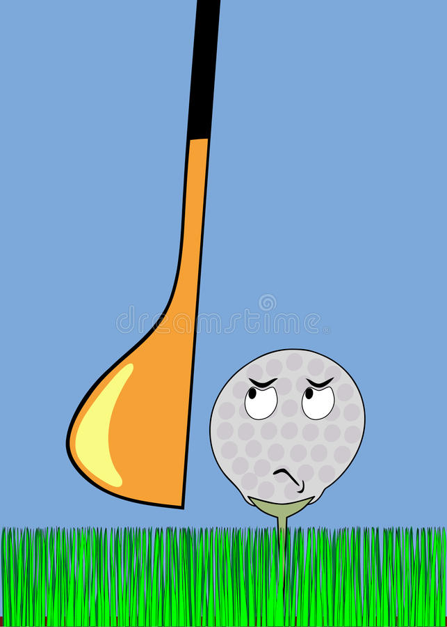 Angry golfball awaiting stroke. Cartoon illustration - frightened golf ball awaiting stroke - vector royalty free illustration
