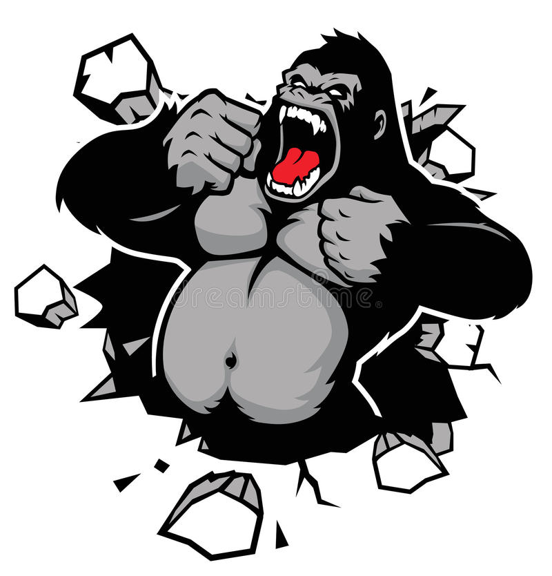 Angry gorilla breaking the wall stock illustration