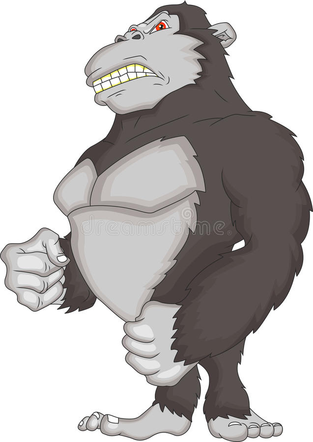 Angry gorilla cartoon stock illustration