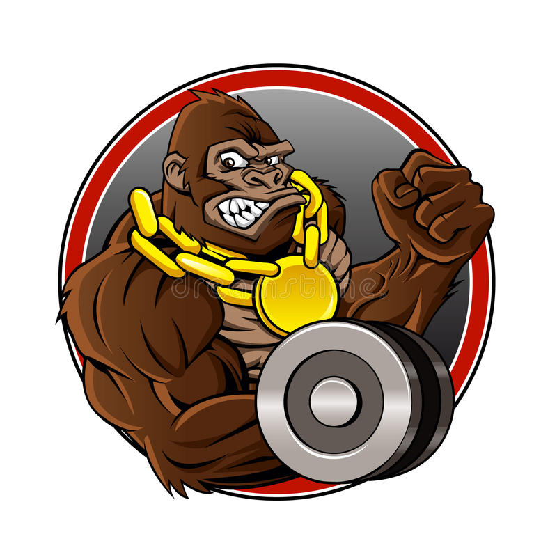 Angry gorilla with dumbbell and gold chain stock illustration