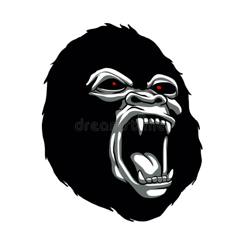 Angry gorilla head. royalty free illustration
