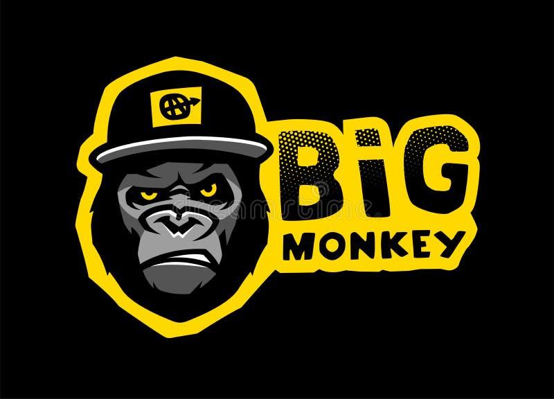 Angry gorilla head in the baseball cap. Vector illustration. royalty free illustration