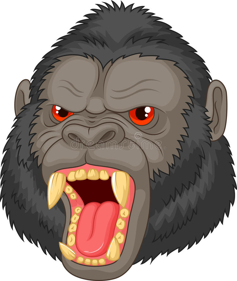 Angry gorilla head cartoon character stock illustration