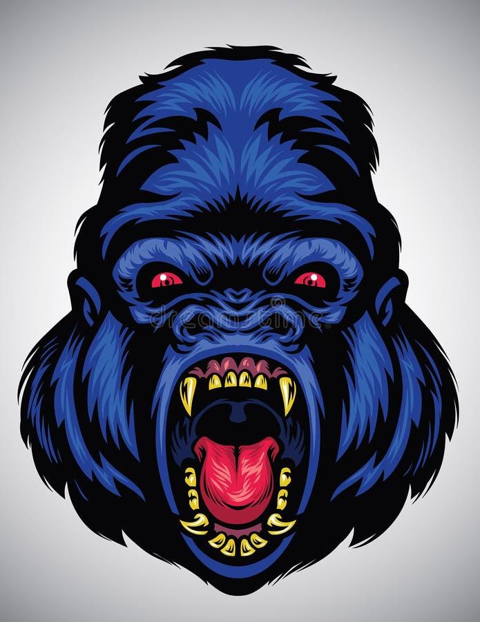 Angry gorilla head royalty free illustration