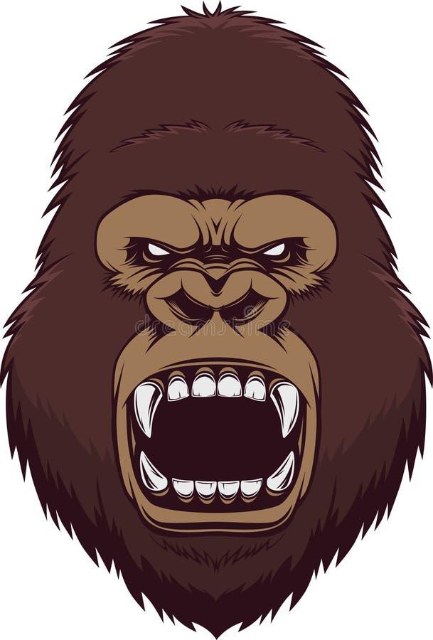 Angry gorilla head vector illustration