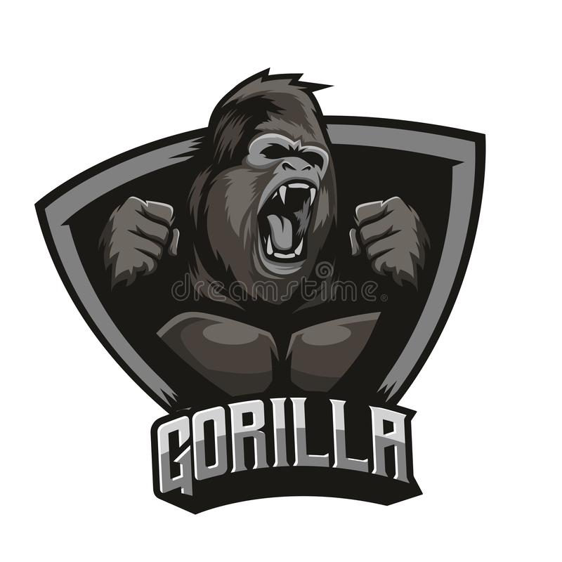 Angry Gorilla Logo With Background Vector royalty free illustration