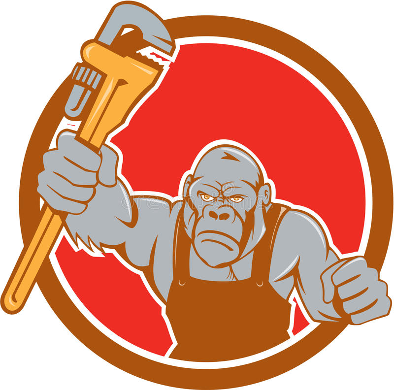 Angry Gorilla Plumber Monkey Wrench Circle Cartoon stock illustration