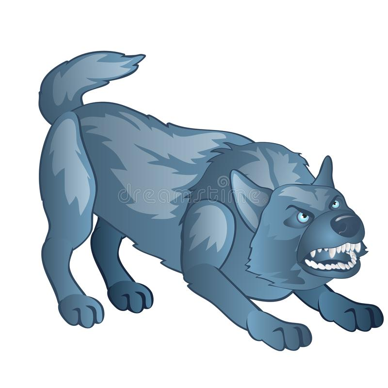 Angry gray dog bares his teeth. Animated werewolf isolated on white background. Vector cartoon close-up illustration. stock illustration