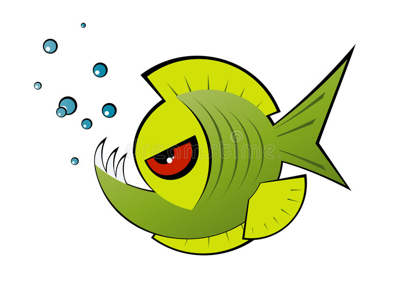 Angry green cartoon piranha vector illustration