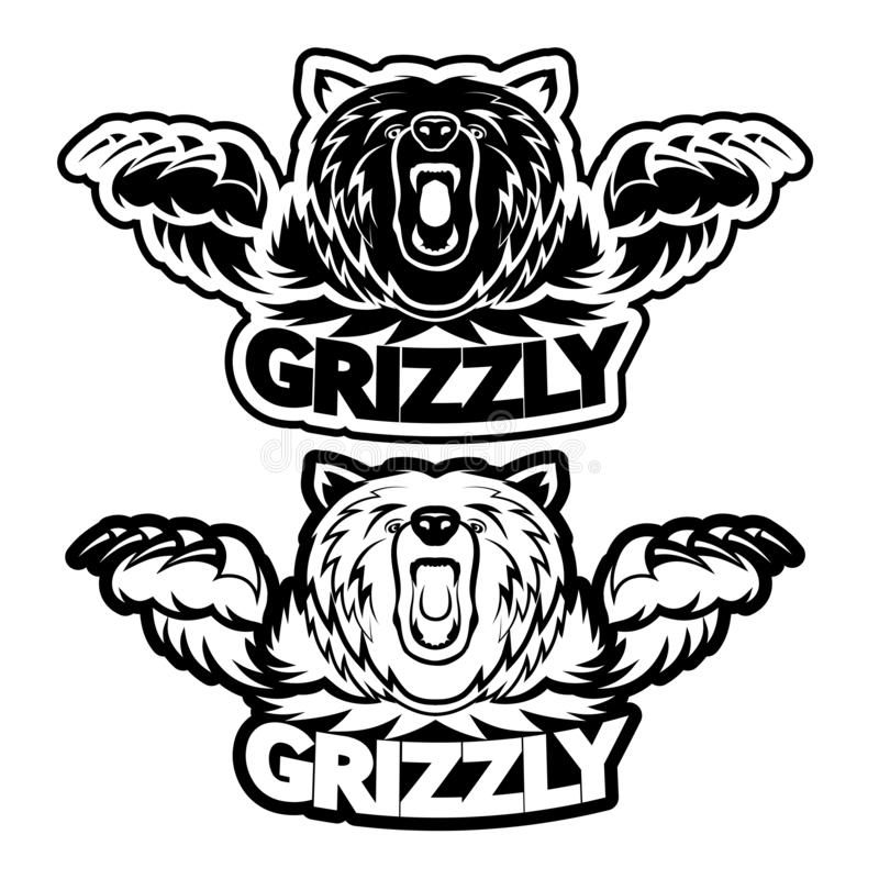 Angry grizzly bear badge vector illustration stock illustration