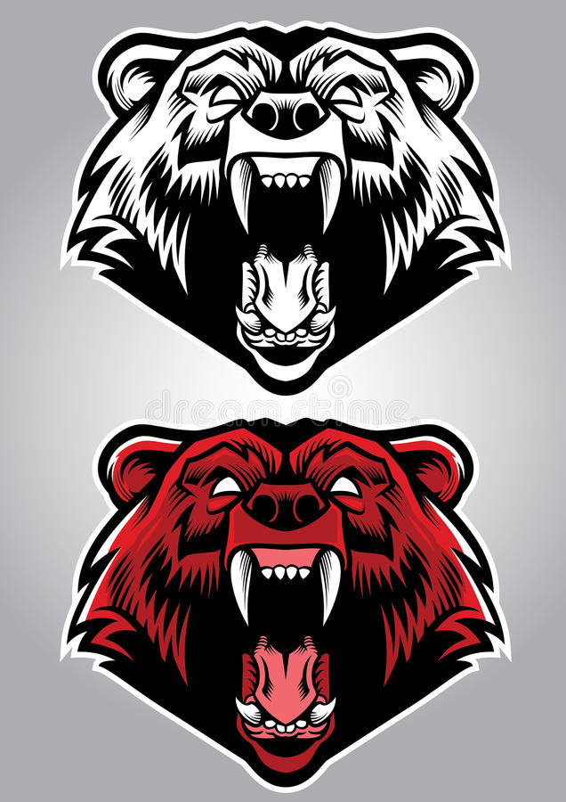 Angry grizzly bear mascot stock illustration