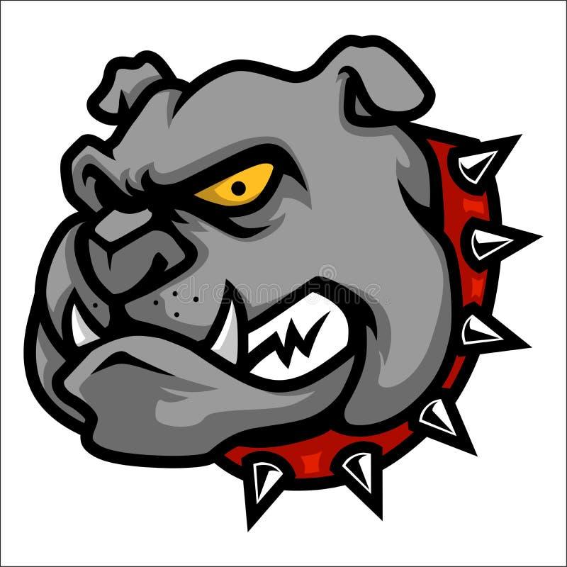 Bulldog Head Mascot Illustration in Cartoon Style stock illustration