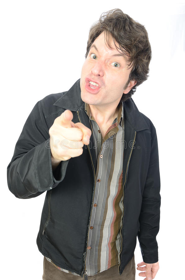 Angry Guy. An angry guy yelling and finger pointing stock photo