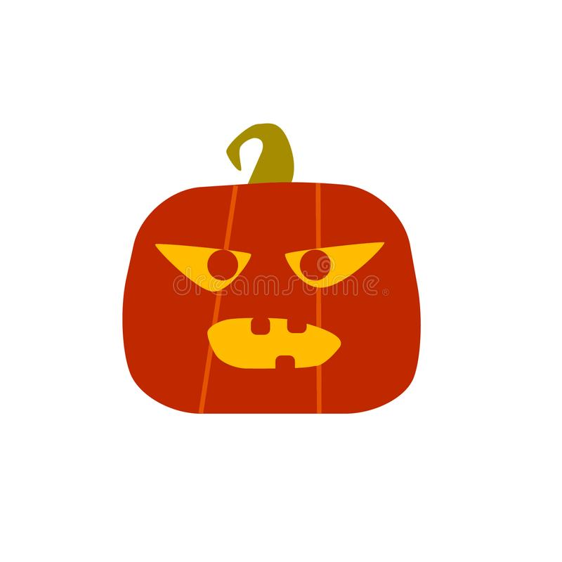 Angry halloween pumpkin. Card design in flat style. Vector icon vector illustration