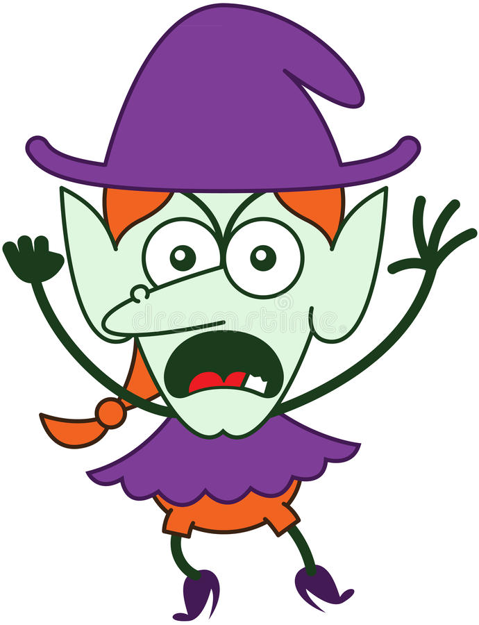 Angry Halloween witch feeling furious and protesting vector illustration