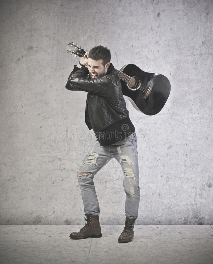 Download Angry Handsome Guitar Playing Stock Photo - Image of sing, scream: 39513010