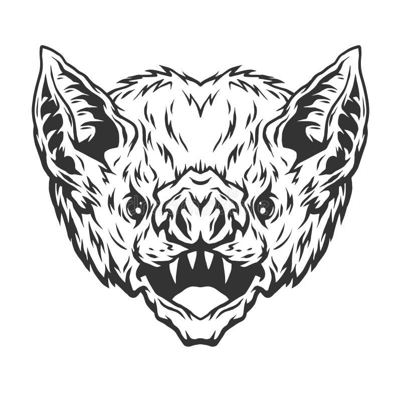 Angry head vampire bat. Angry head vampire bat Vector illustration royalty free illustration