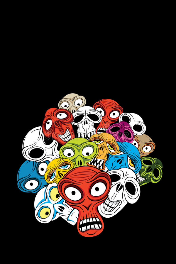 Download Angry Horror Skulls On The Background Royalty Free Stock Images - Image: 14150949