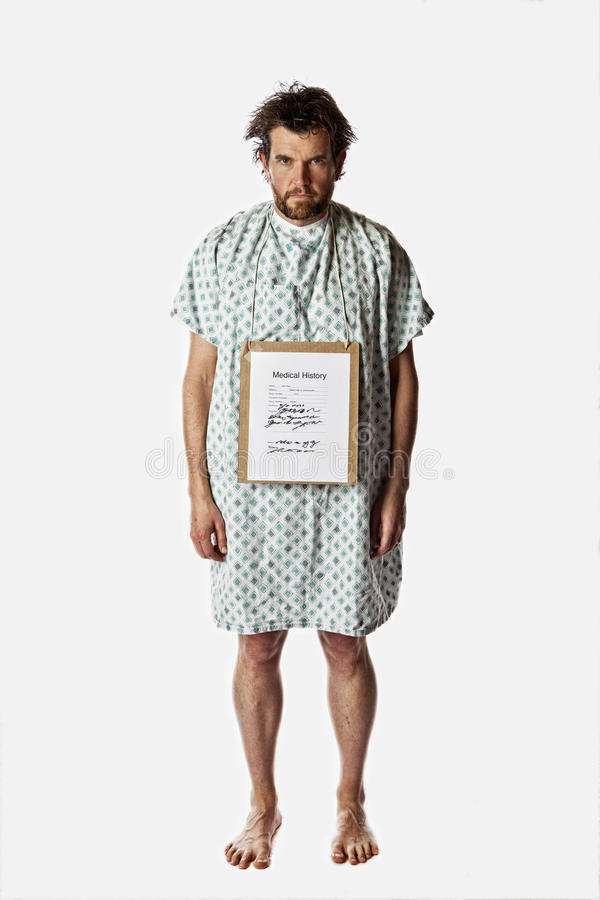 Angry hospital patient royalty free stock photos