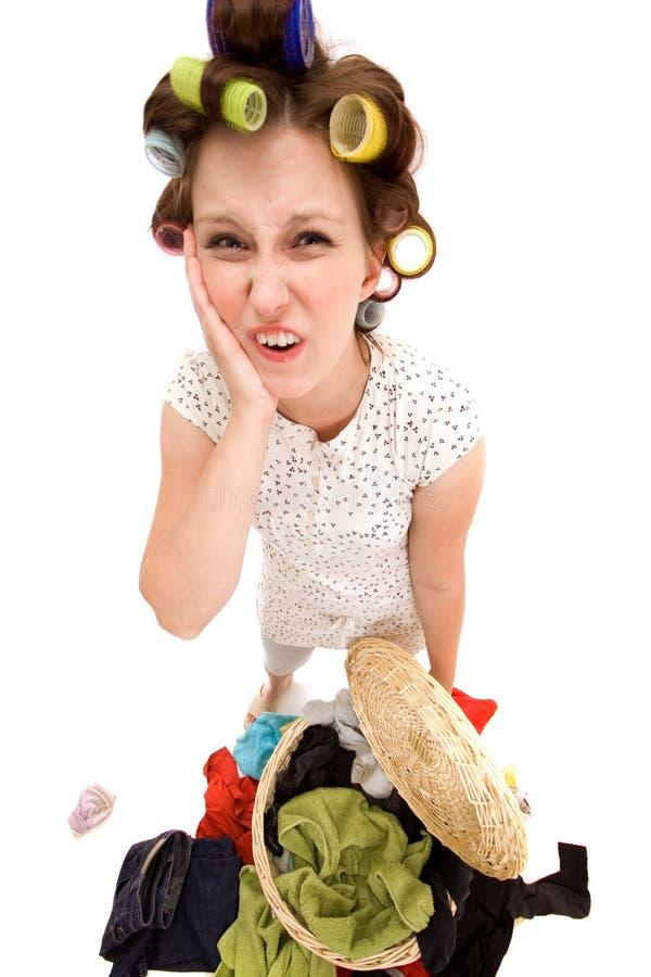 Angry housewife stock image