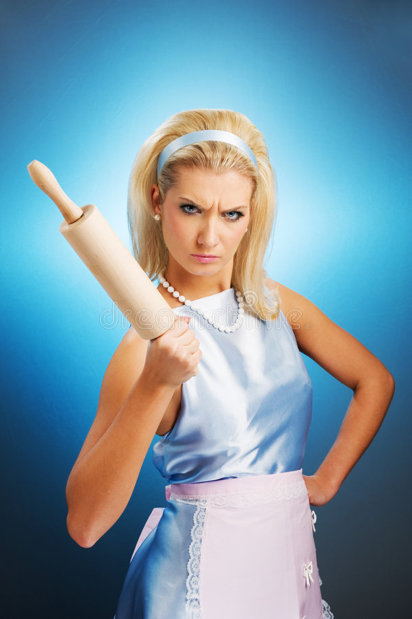 Angry housewife royalty free stock photography