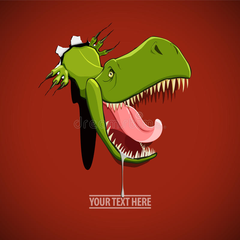 Angry and hungry dinosaur comes out from the hole in the wall. Vector illustration of an angry and hungry dinosaur comes out from the hole in the wall stock illustration