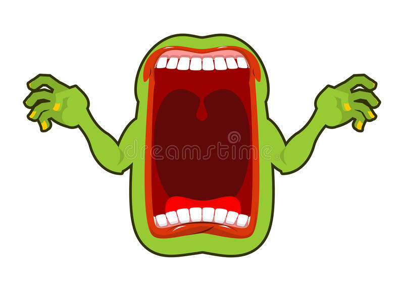 Angry hungry spirit. Scary ghost shouts. Horrible wraith frightening screams. Green monster with his mouth open. spook Wild howl. stock illustration